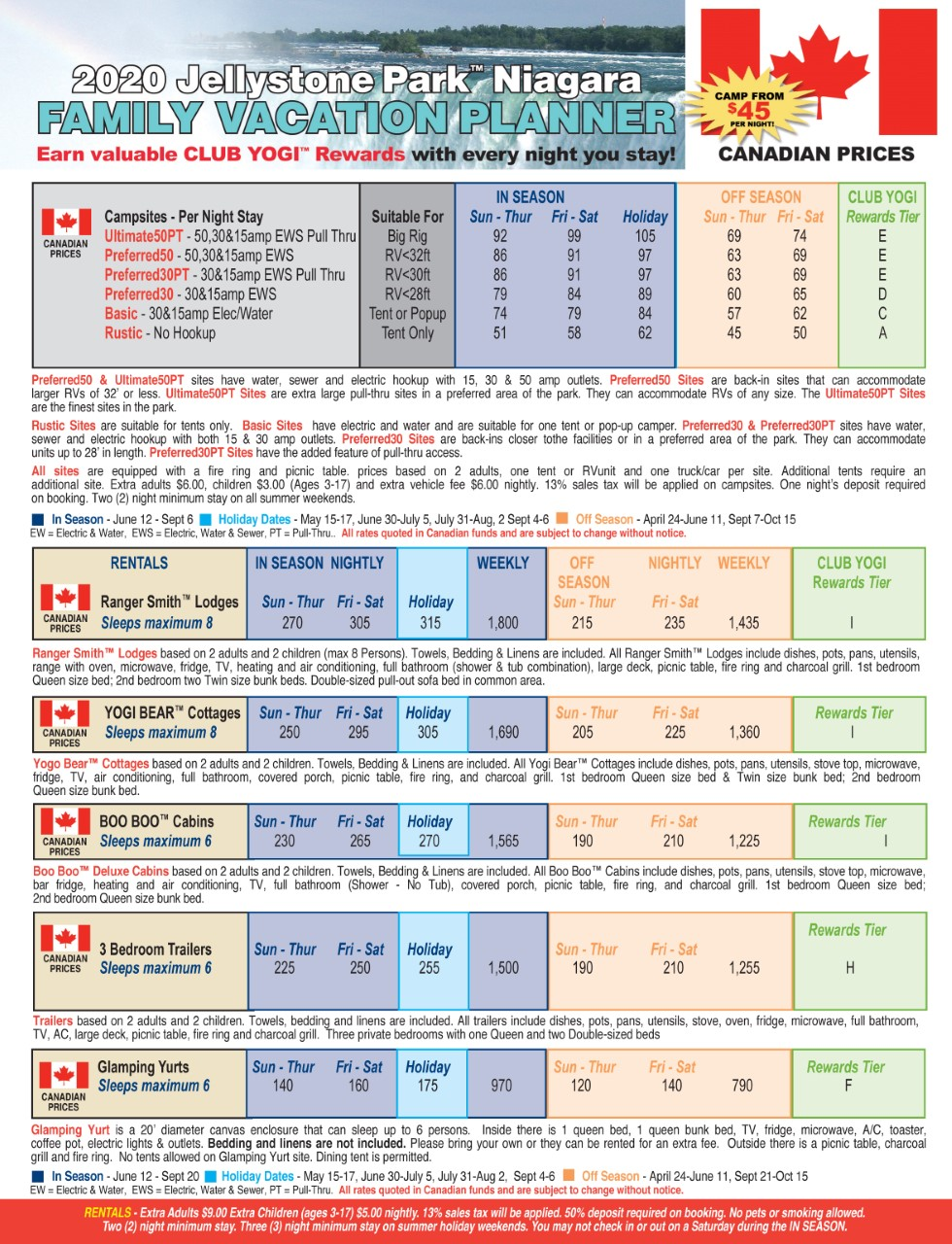2019 Canadian Park Rates
